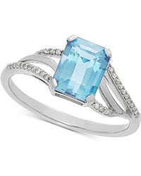 Macy's - Aquamarine (1-3/8 Ct. T.w.) & Diamond Accent Ring In 14k White Gold - Lyst