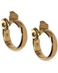 """Anne Klein - Gold-tone 1 1/2"""" Wide Hoop E-z Comfort Clip-on Earrings - Lyst"""