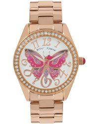 Betsey Johnson - Butterfly Motif Dial Rose Gold Watch - Lyst
