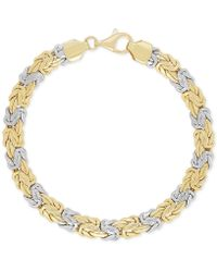 Macy's - Two-tone Byzantine Bracelet In 14k Gold And White Gold - Lyst