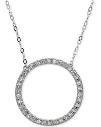Macy's - Diamond Circle Pendant Necklace (1/10 Ct. T.w.) In 14k White Gold - Lyst