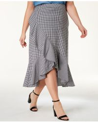 Soprano - Trendy Plus Size Ruffled High-low Gingham Skirt - Lyst