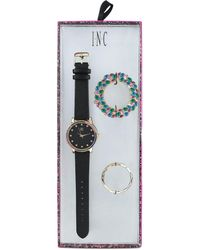 INC International Concepts - Black Faux Leather Strap Watch 38mm, Created For Macy's - Lyst