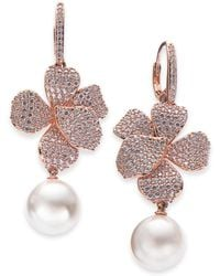 Danori - Rose Gold-tone Cubic Zirconia & Pink Imitation Pearl Drop Earrings, Created For Macy's - Lyst