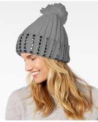 DKNY - Studded Ribbed-knit Cuff Beanie, Created For Macy's - Lyst