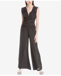 Max Studio   Smocked Dot-print Jumpsuit, Created For Macy's   Lyst