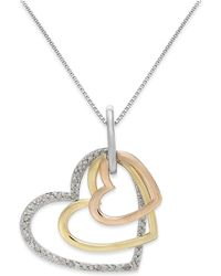 Macy's - Diamond Tri-tone Triple Heart Pendant Necklace In Sterling Silver And 14k Gold (1/5 Ct. T.w.) - Lyst