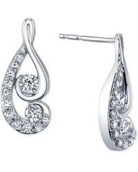 Proud Mom - Diamond Swirl Earrings (1/2 Ct. T.w.) In 14k White Gold - Lyst