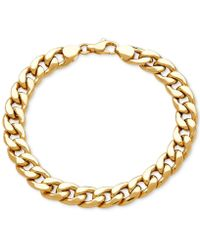 Macy's - Men's Heavy Curb Link Bracelet In 10k Gold - Lyst