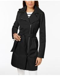 Vince Camuto - Petite Hooded Asymmetrical Trench Coat - Lyst