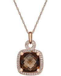 Macy's - Smoky Quartz (6-1/6 Ct. T.w.) And Diamond (1/3 Ct. T.w.) Pendant Necklace In 14k Rose Gold - Lyst