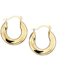 Macy's - Small Polished Tube Hoop Earrings In 10k Gold - Lyst