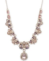 """Marchesa - Gold-tone Multi-crystal & Imitation Pearl Lariat Necklace, 16"""" + 3"""" Extender - Lyst"""