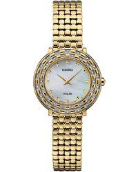 Seiko - Women's Solar Tressia Diamond-accent Gold-tone Stainless Steel Bracelet Watch 29mm - Lyst