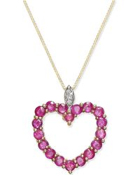 Macy's - Ruby (1-3/4 Ct. T.w.) And Diamond Accent Heart Pendant Necklace In 14k Gold - Lyst