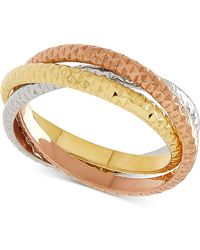 Macy's - Tricolor Textured Roll Ring In 14k Gold, White Gold & Rose Gold - Lyst