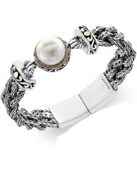 Effy Collection - Cultured Freshwater Pearl (14mm) Braided Chain Bracelet In Sterling Silver And 18k Gold - Lyst
