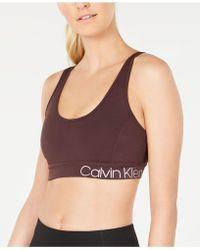 7d416d78fd Calvin Klein - Performance Strappy-back Low-impact Sports Bra - Lyst