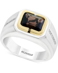 Effy Collection - Men's Smoky Quartz (1-7/8 Ct. T.w.) And Diamond (1/8 Ct. T.w.) Two-tone Ring In Sterling Silver And 14k Gold - Lyst