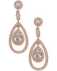 Anne Klein - Rose Gold-tone Crystal And Pavé Orbital Drop Earrings - Lyst