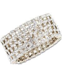 Anne Klein - Silver-tone Crystal Stretch Cuff Bracelet - Lyst