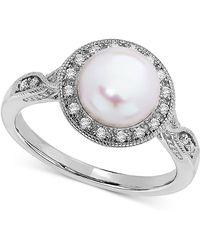 Macy's - Cultured Freshwater Pearl (8mm) & Swarovski Zirconia Ring In Sterling Silver - Lyst