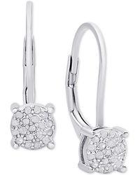 Macy's | Diamond Cluster Drop Earrings (1/4 Ct. T.w.) | Lyst
