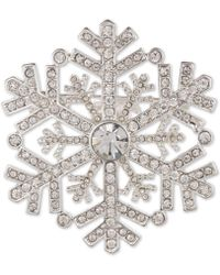 Anne Klein - Silver-tone Crystal Snowflake Pin, Created For Macy's - Lyst