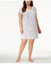 Miss Elaine - Plus Size Wildflower-print Knit Nightgown - Lyst