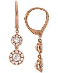 Macy's - Diamond Halo Drop Earrings (3/4 Ct. T.w.) In 14k White Gold - Lyst