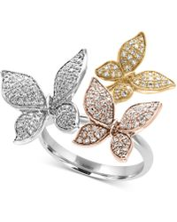 Effy Collection - Diamond Pavé Butterfly Ring (5/8 Ct. T.w.) In 14k Yellow, White And Rose Gold - Lyst