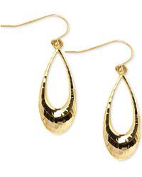 Macy's - Open Teardrop Textured Drop Earrings In 10k Gold - Lyst