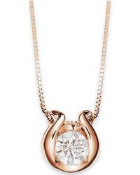 Macy's - 14k Gold Necklace, Bezel-set Diamond Accent Pendant - Lyst