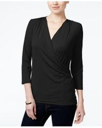 Charter Club | Petite Crossover Wrap Top, Only At Macy's | Lyst