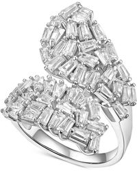 Macy's - Cubic Zirconia Baguette Cluster Bypass Ring In Sterling Silver - Lyst