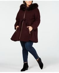 Laundry by Shelli Segal - Plus Size Faux Fur Hooded Belted Wool Coat - Lyst