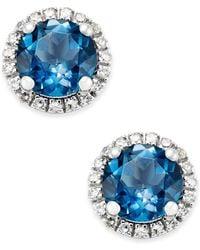 Macy's - London Blue Topaz (1-3/4 Ct. T.w.) And Diamond (1/6 Ct. T.w.) Stud Earrings In 14k White Gold - Lyst