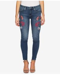 Cece - Floral-embroidery Skinny Jeans - Lyst