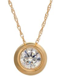 Macy's - Bezel-set Cubic Zirconia Pendant Necklace In 14k Yellow, White, Or Rose Gold - Lyst