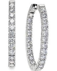 Macy's | In-and-out Diamond Hoop Earrings (3 Ct. T.w.) In 14k White Gold | Lyst