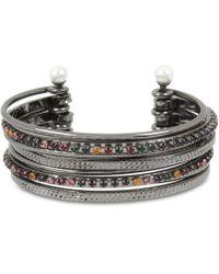 BCBGMAXAZRIA - Crystal & Imitation Pearl Multi-row Cuff Bracelet - Lyst