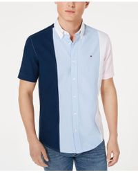 12963389 Tommy Hilfiger - Big & Tall Tobias Custom-fit Pieced Colorblocked Shirt -  Lyst