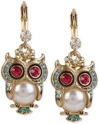 Betsey Johnson - Gold-tone Ornate Owl Drop Earrings - Lyst