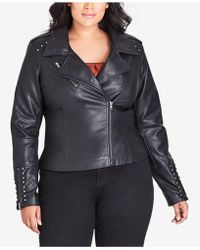 City Chic - Trendy Plus Size Studded Faux-leather Moto Jacket - Lyst
