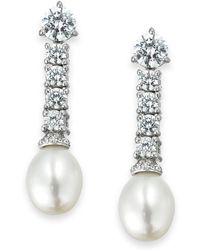 Arabella | Cultured Freshwater Pearl (8mm) And Swarovski Zirconia (3-5/8 Ct. T.w.) Drop Earrings In Sterling Silver | Lyst