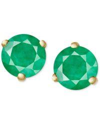 Macy's - 14k Gold Earrings, Emerald Stud (1/8 Ct. T.w.) - Lyst
