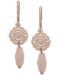 Lonna & Lilly - Gold-tone Pavé Disc & Bead Double Drop Earrings - Lyst