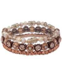 Lonna & Lilly - Gold-tone Bead & Stone Multi-layer Bangle Bracelet - Lyst