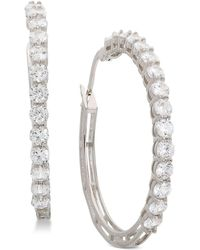 "Giani Bernini - Small Cubic Zirconia Hoop Earrings In Sterling Silver, 0.75"", Created For Macy's - Lyst"