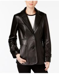 Jones New York - Leather Blazer Jacket - Lyst